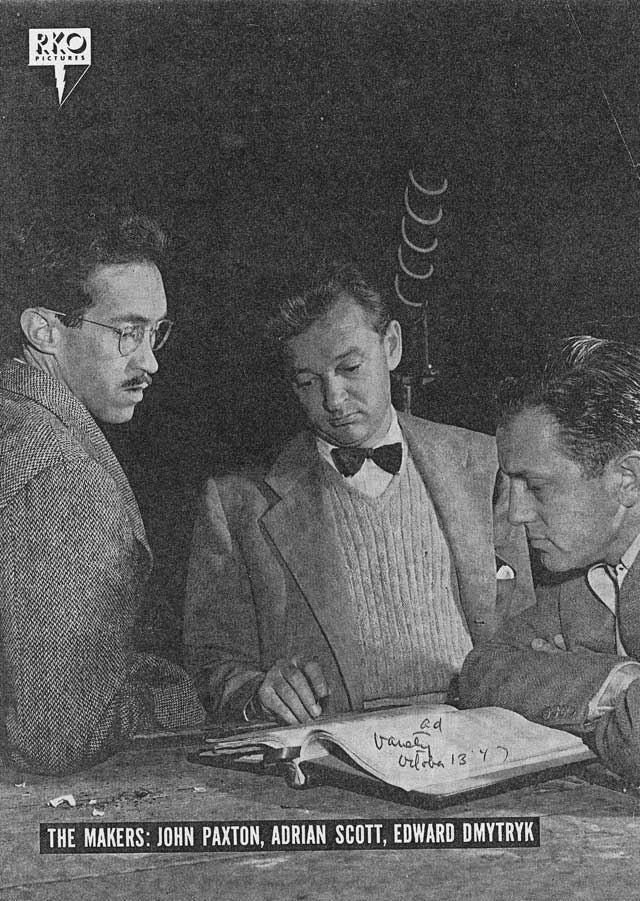 The Oscar-nominated trio behind Crossfire pose for Daily Variety, 1947 (left to right: John Paxton, Adrian Scott, Edward Dmytryk)
