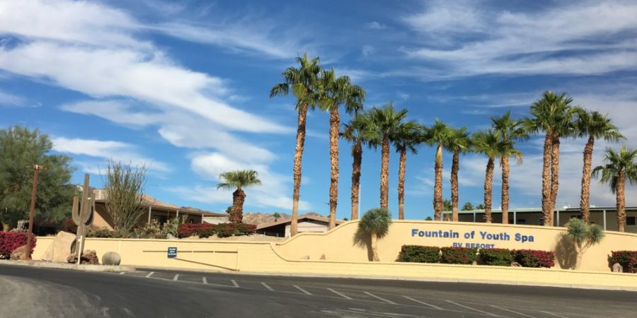 Photo of the entrance to the Fountain of Youth RV Park with the park sign, a row of tall palm trees, and a blue clouded sky.